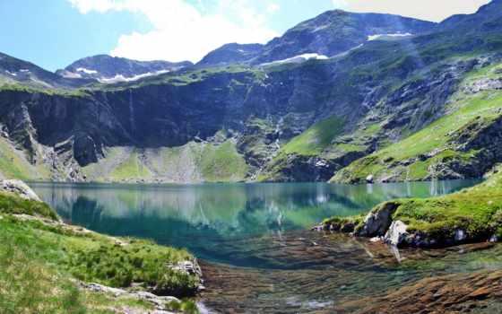 pyrenees, french, атлантические, горы, трава, природа, озеро,
