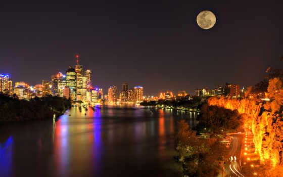 ночь, всех, которых, тег, огни, есть, brisbane, luna, небоскребы, красивые,