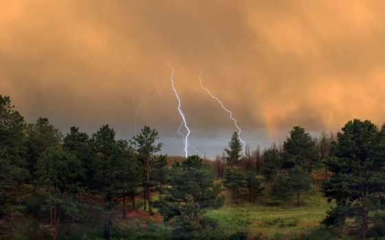 буря, летняя, природа, красивые, time, со, небо, года,