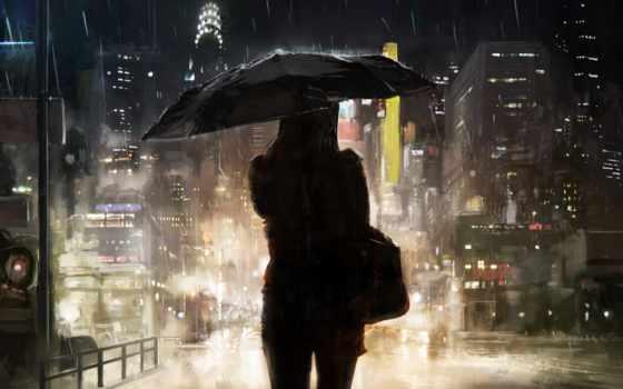 девушка, art, силуэт, дождь, город, зонтик, живопись, люди,