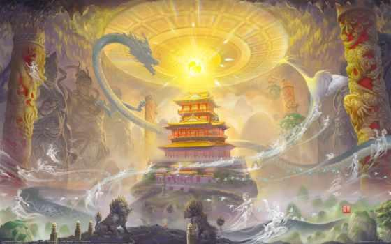 храм, art, колонны, магия, драконы, статуй, сфера, sheng, lei, призраки, asian,