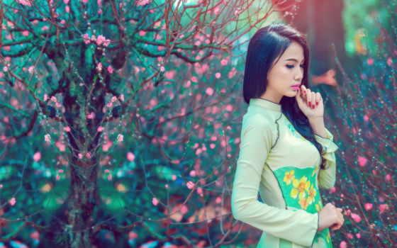 девушка, модель, традиционный, vietnamese, flowers, ткани,