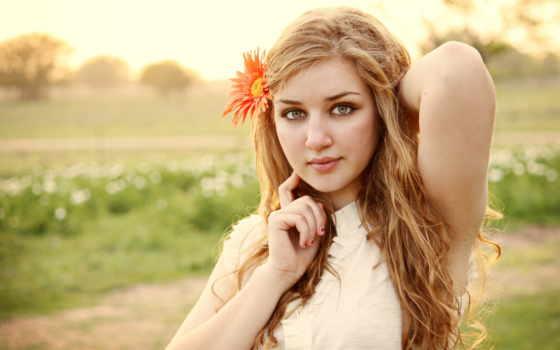 девушка, blonde, поле, цветы, настроение, лицо,