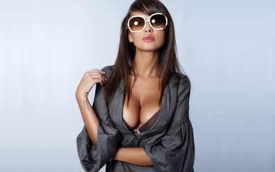 девушка, очки, очках, женщина, больших, солнечных, изображение,