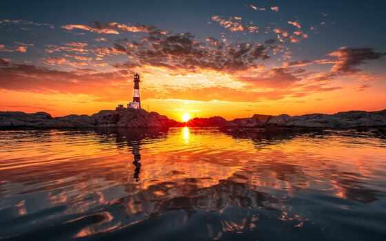 маяк, zakat, more, oblako, пейзаж, voda, отражение, рассвет, красивый, солнце, priroda