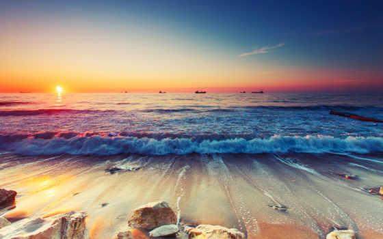 море, рассветы, закаты, картинка, landscape, побережье, природа, количество, часть,