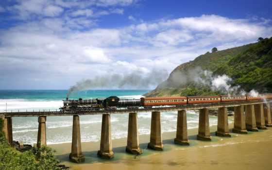 дорога, природа, железная, море, локомотив, страница, мост, жд, композиция,