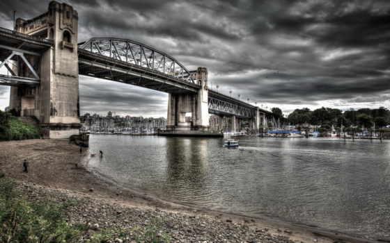 hdr, vancouver, канадский, побережье, мосты, река, мост, дек, southwark, фото, london,
