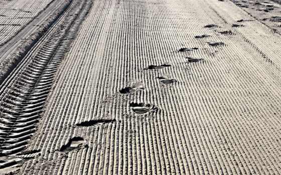 border, band, след, песок