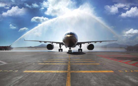 самолёт, авиация, взлетная, band, airbus, пассажирский, взлетной, полосе,