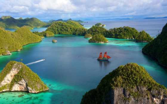 алые, паруса, индонезийский, sailboat, коллекция, камни, картинок, острова, растительность, скалы, остров,