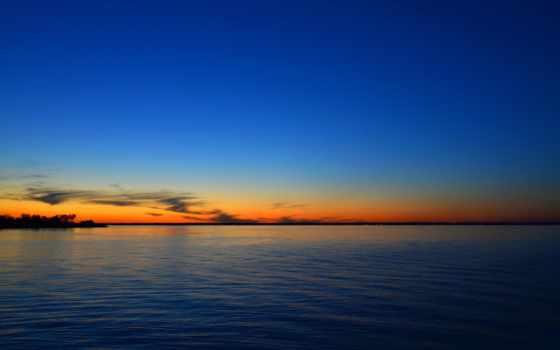 закат, mac, море, skyline, горизонт,