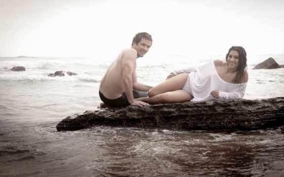 stock, пара, fun, молодой, having, vacation, пляж, surf, женщина, love, flirting,