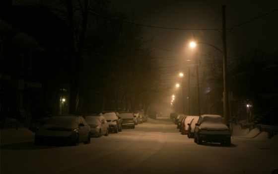 winter, lantern, снег, улица, машины,