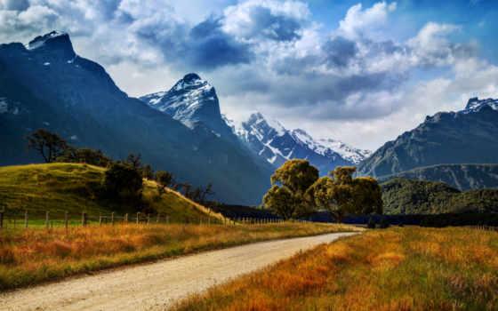 landscape, горы, новая, zealand, дорога, небо, гора, пейзажи -, природа, красивые,