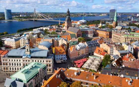 рига, латвийский, город, река, мост, house