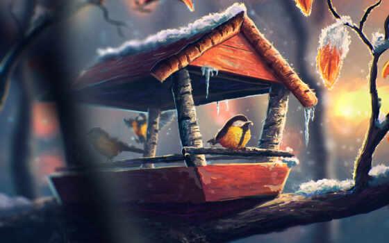 птица, art, feeder, красивый, анимация, кот