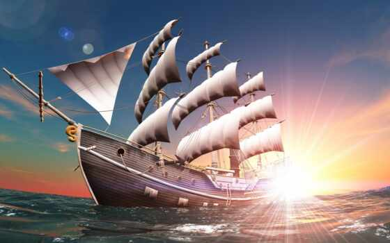 корабль, sun, sail, рассвет, chart, мачтовый, landscape, rendering, небо