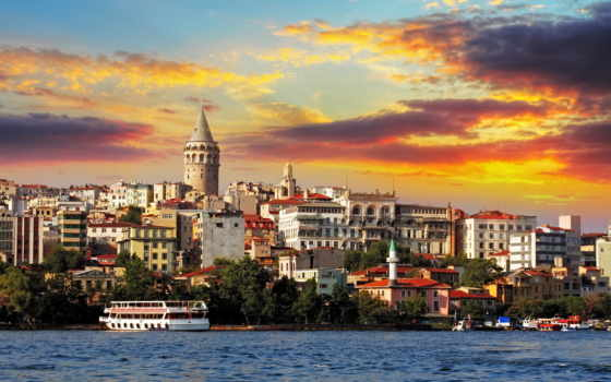 istanbul, sunset, galata, turkey, district, bunama, фотообои,