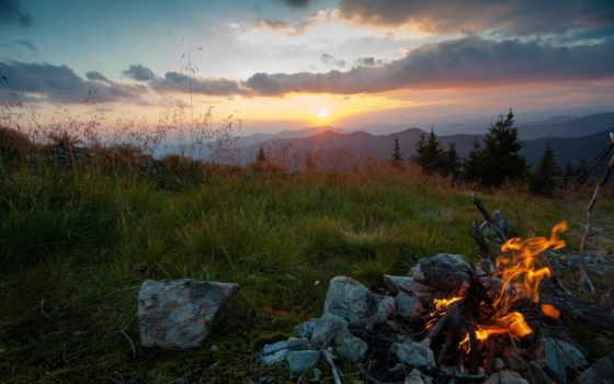 карпаты, вечер, ukrainian, горы, огонь, закат, трава,