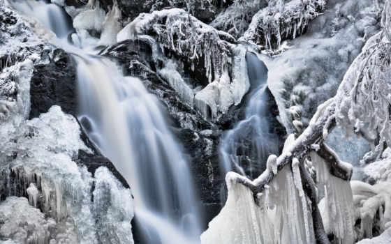 winter, природа, снег, trees, иней, лед, frozen, icicles, водопад, water,