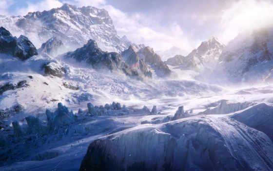горы, winter, люди, art, southen, трек, reid, альпинисты, снег, свет,