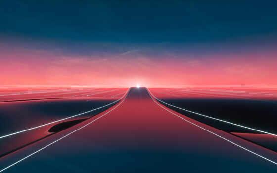закат, тропинка, дорога, freeway, line, горизонт, даль, уходящая