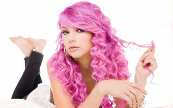волосы, кудри, лицо, розовые, taylor, макияж, swift, розовый,