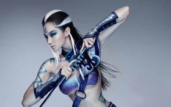 девушка, devushki, живопись, warriors, тело, online, кинжалом, воин,