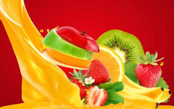 фрукты, ягоды, киви, juice, apple, еда, клубника, оранжевый,