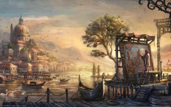 art, картины, картинка, часть, осень, trees, рисунок, попа, лодки, маслом, дек,