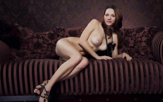 dana, couch, голая, диване,