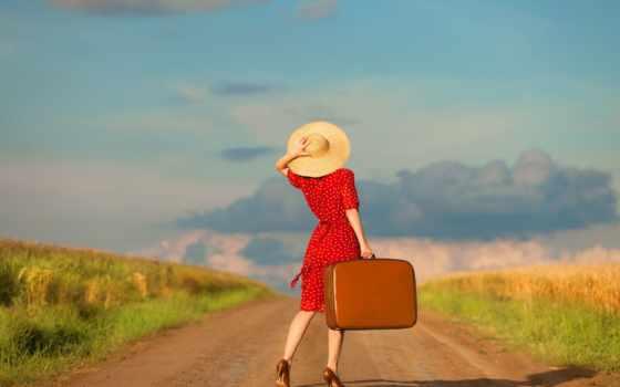 девушка, чемодан, дорога, платье, oblaka, devushka, небо, chemodan, табличка, шляпа,