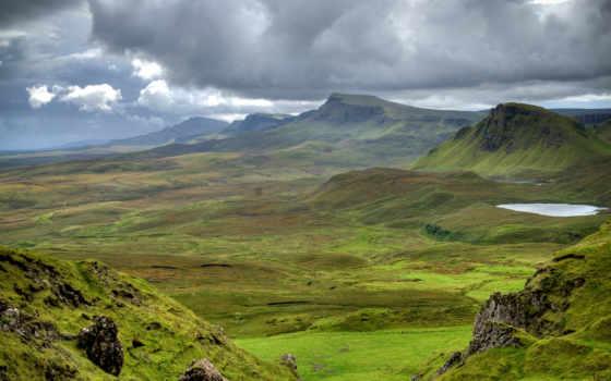scotia, горы, луга, шотландии, закат, небо, море,