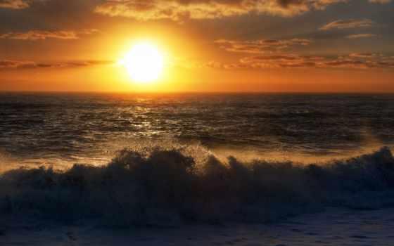 закат, ocean, природа, пляж, waves, seas, небо, galaxy,