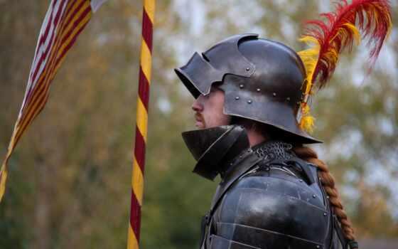 рыцарь, шлем, feathers, доспех, металл, desktop,