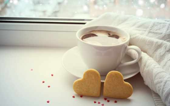 coffee, cup, сердце