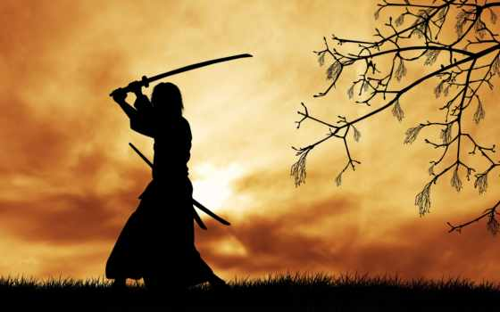 самурай, воин, меч, дух, катана, самурая, война, силуэт, путь, дерево,