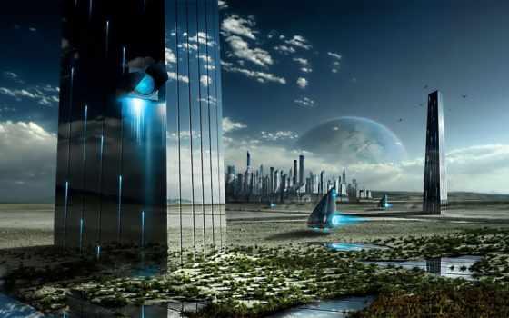 город, будущего, зеркала