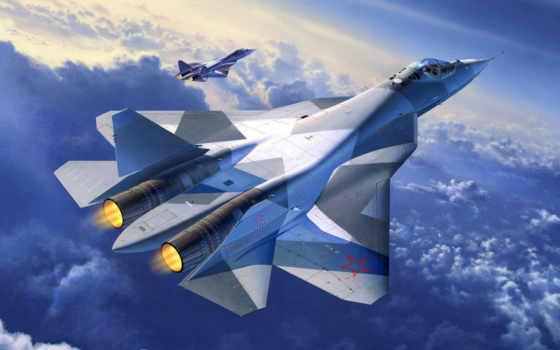 пак, изображение, истребитель, авиация, sukhoi, пятого, promising,