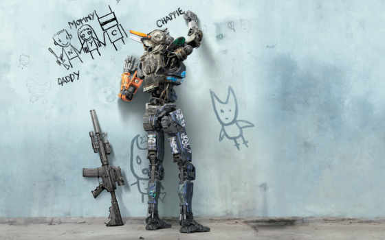 iphone, chappie, robot, сниматься, art, плакат, cartoon, movie, plus, intelligent,