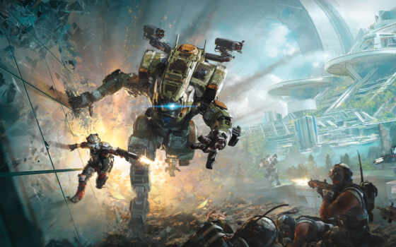 titanfall, битва, роботы, pursuit, robot, game, respawn, шутера,