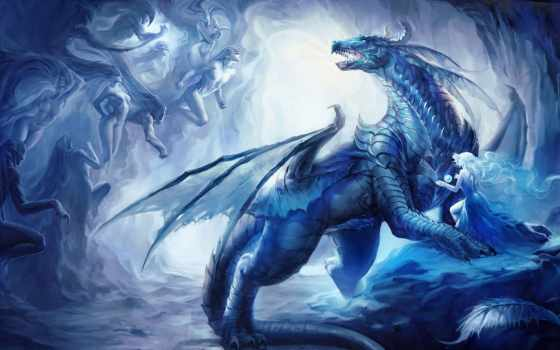 дракон, девушка, art, магия, sakimichan, сфера, дух, эльф,