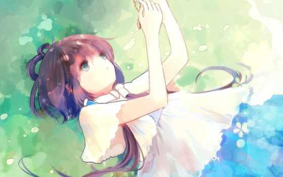art, anime, девушка, vocaloid, природа, кулон, cvety, luo, лежит, pinterest,