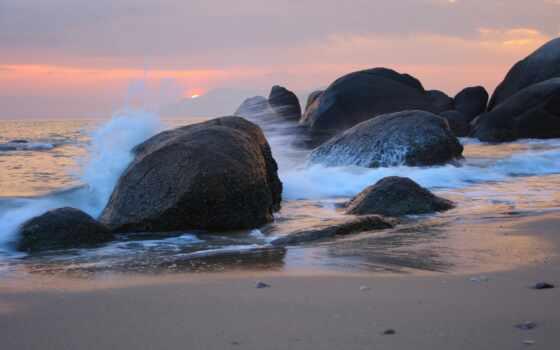 волна, море, отдых, journey, пляж, закат, брызги, берег, boulder, rock, природа
