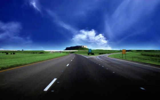 road, небо