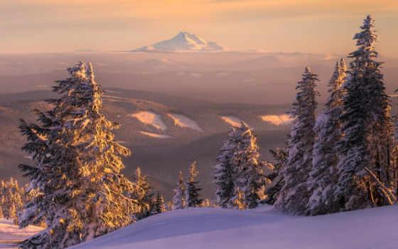 зима, горы, пейзаж, елки, лес, скала, высота, склон, ели, елка, закат, горизонт, сугробы,