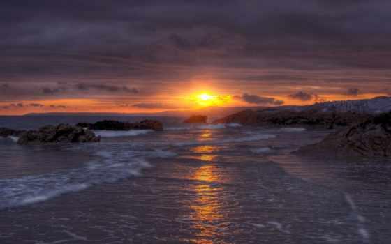 закат, море, картинка