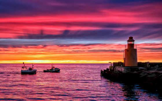 море, закат, lighthouse, вечер, берег, pier, ocean, катера, небо, причал,