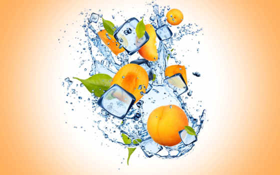 lemon, лед, брызги, дольки, цитрус, листва, water, yellow, slices,